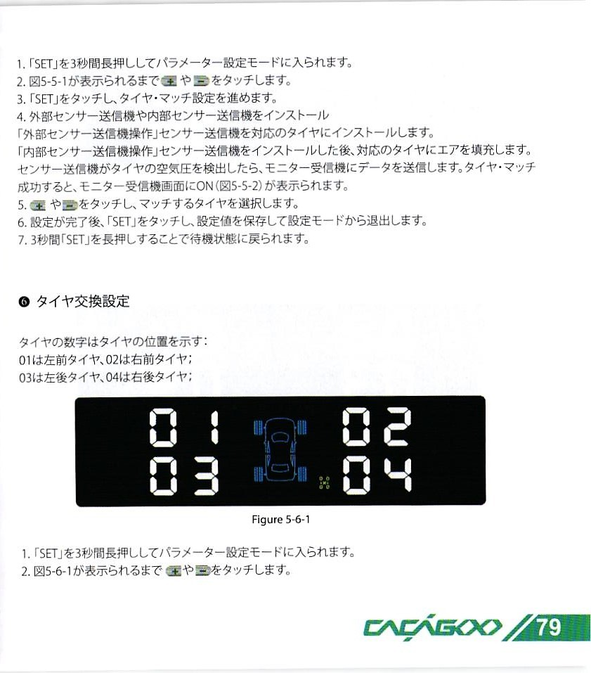 CACAGOO TPMS タイヤ空気圧監視システム 取説 79