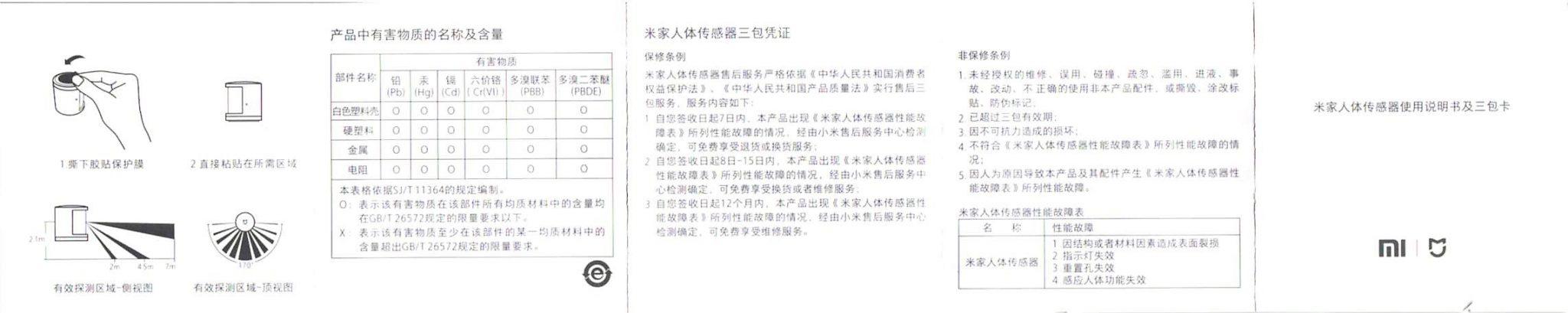 Xiaomi mijia スマートホームセキュリティキット 取説 人感センサー2
