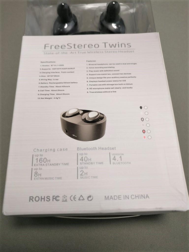 完全分離ワイヤレスイヤホンdocooler K2 TWS 化粧箱 裏 ズーム