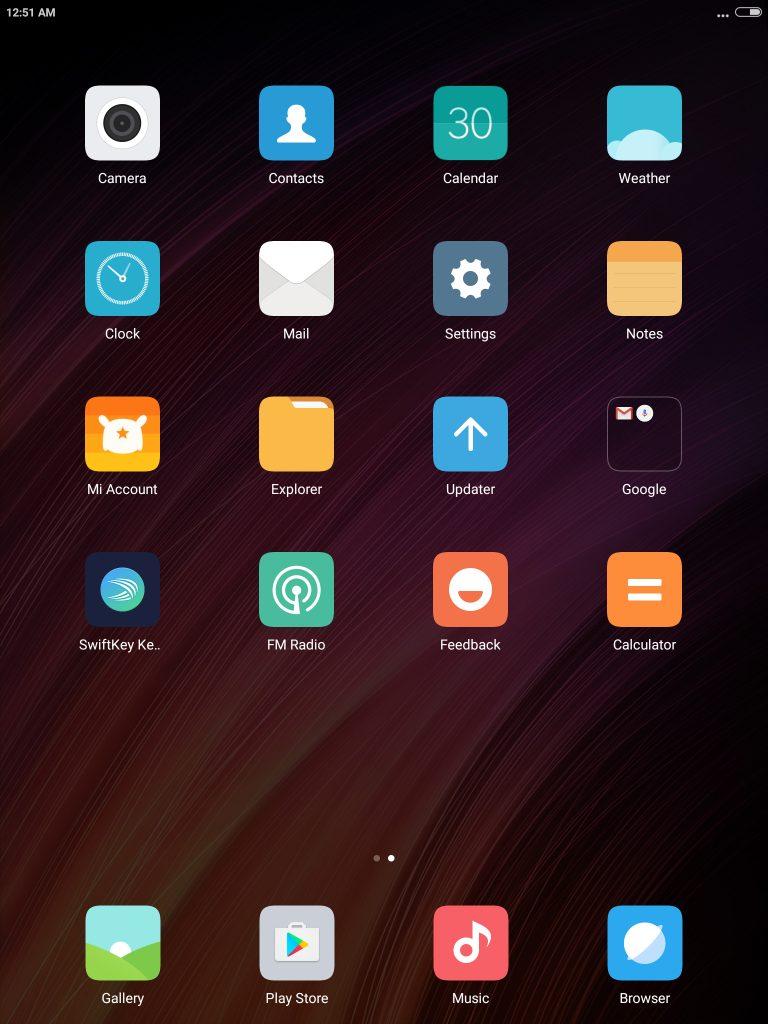 Xiaomi Mi Pad 3 ホーム画面