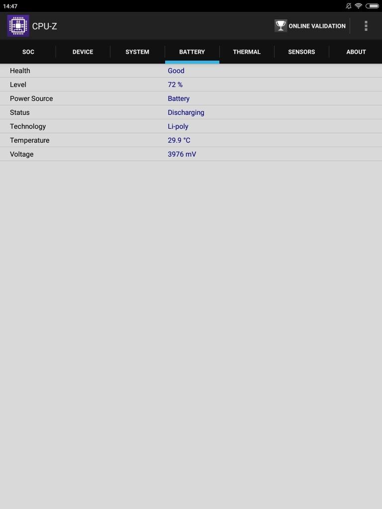 Xiaomi Mi Pad 3 CPU-Z Battery