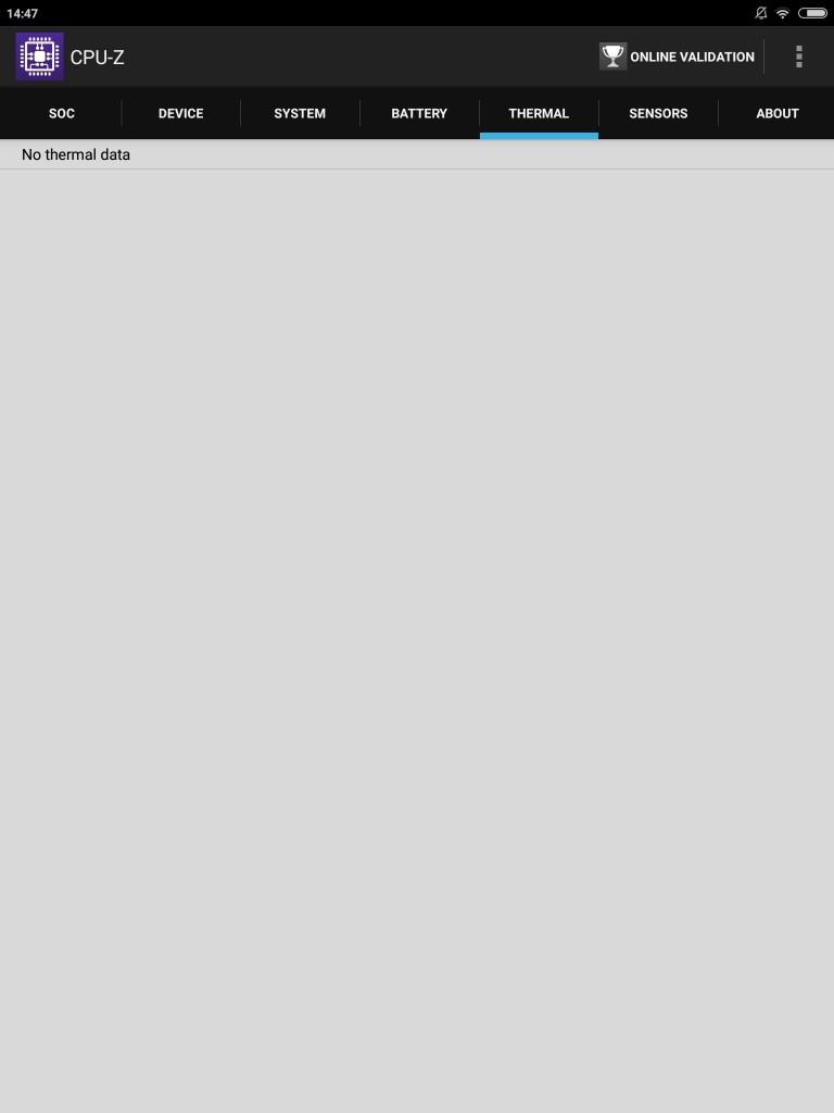 Xiaomi Mi Pad 3 CPU-Z THERMAL エラーで表示されない