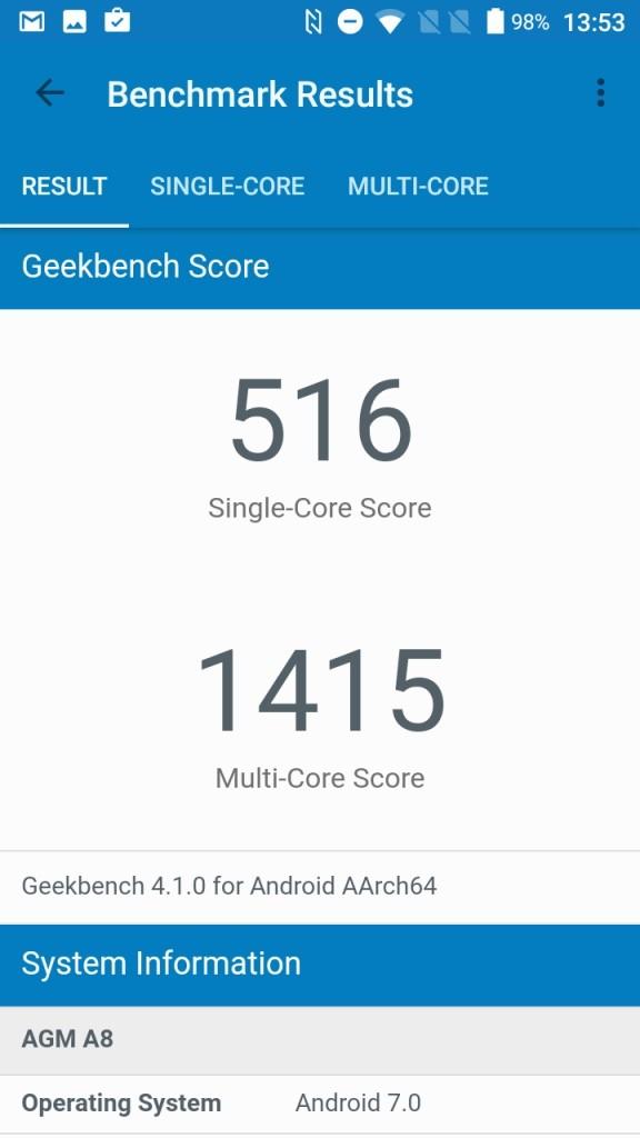 AGM A8 Geekbench 516