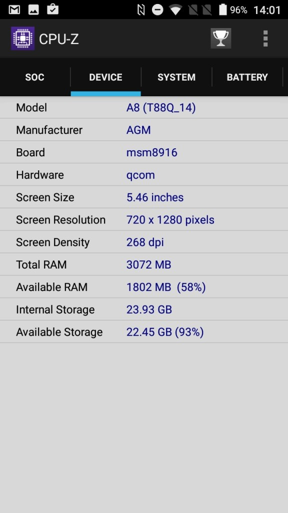 AGM A8 CPU-Z Device