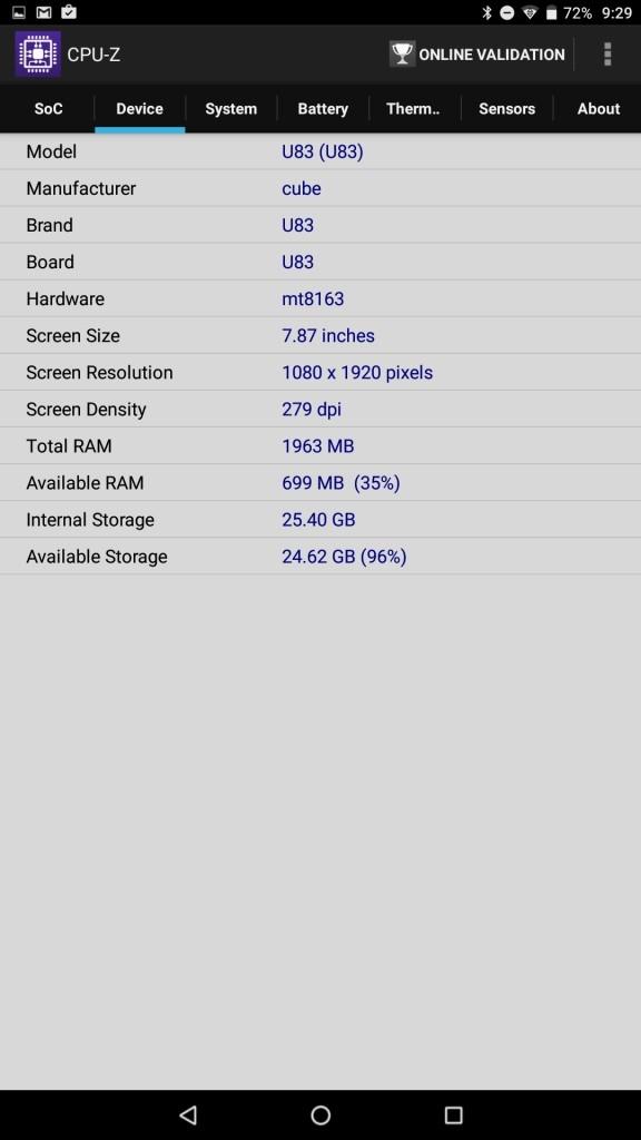 Cube iplay 10 CPU-Z 3