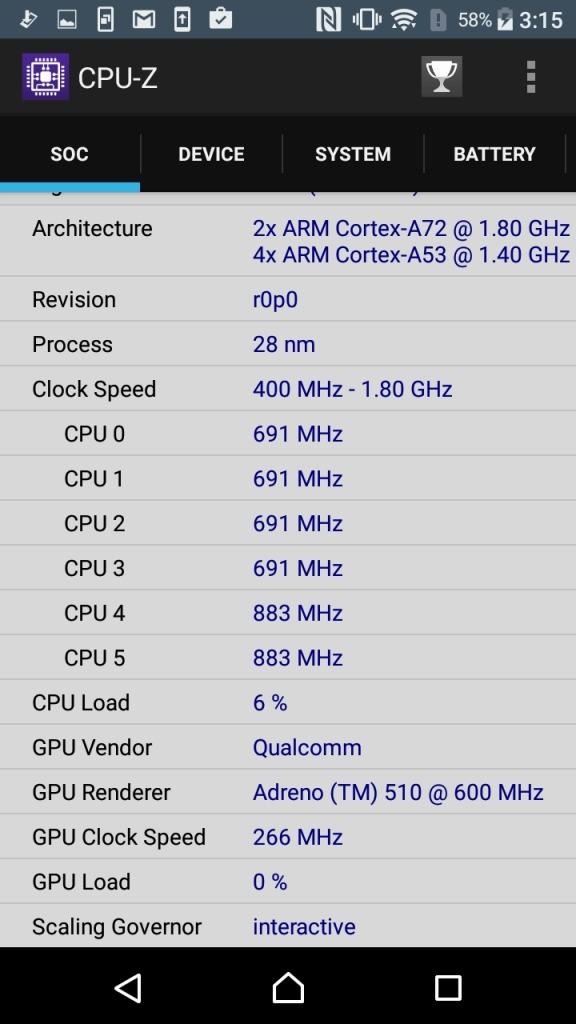 Xperia X Compact CPU-Z Soc2