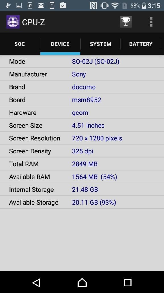 Xperia X Compact CPU-Z Device