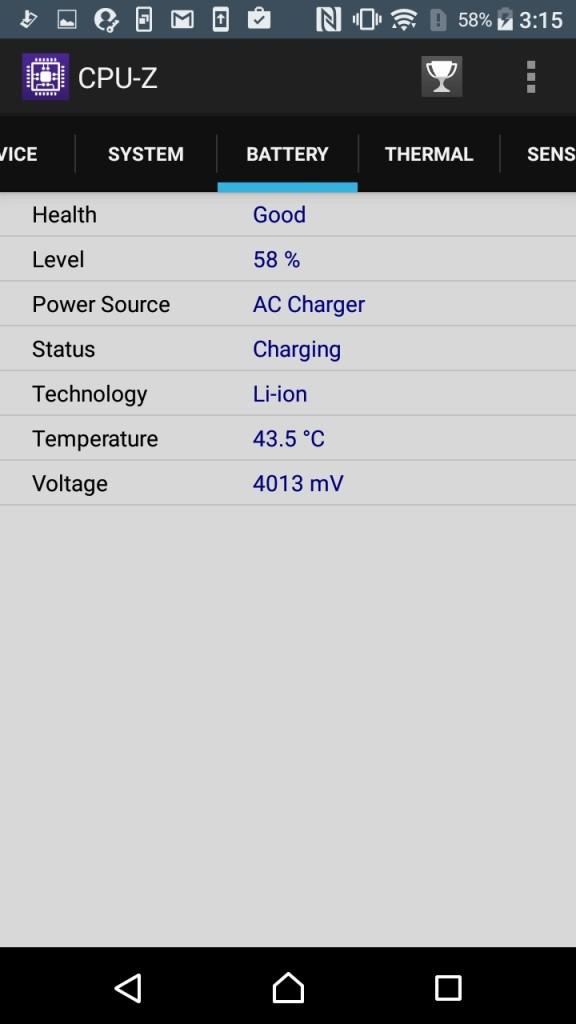 Xperia X Compact CPU-Z Battery