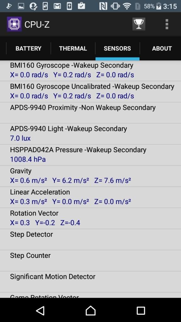 Xperia X Compact CPU-Z Sensors2