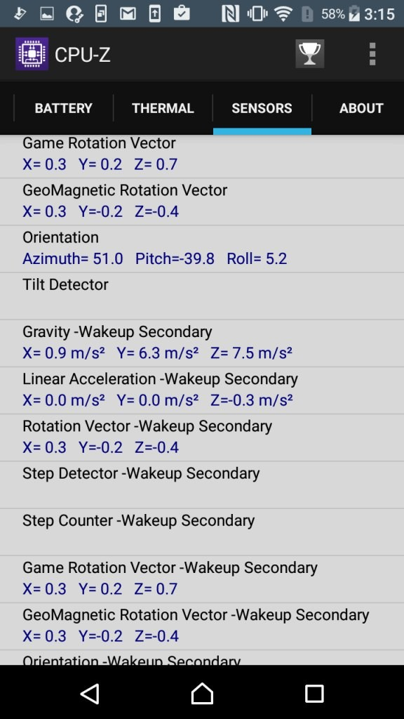 Xperia X Compact CPU-Z Sensors3