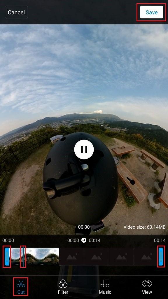 Mi Sphere Cameraアプリ 編集開始