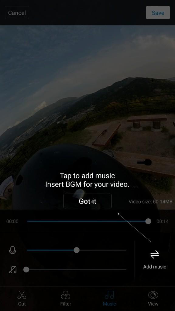 Mi Sphere Cameraアプリ Add Music