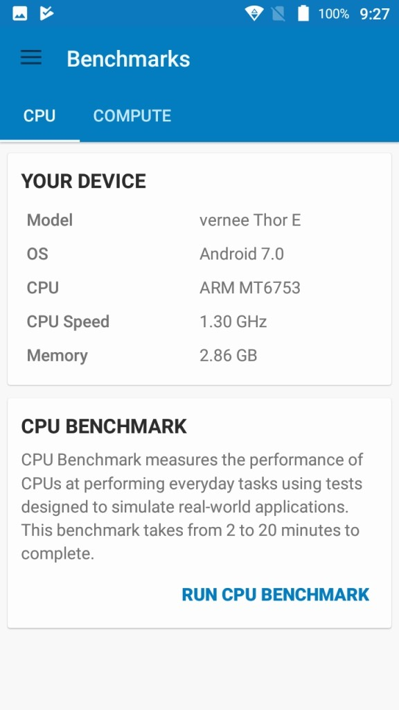 Vernee Thor E Geekbench System