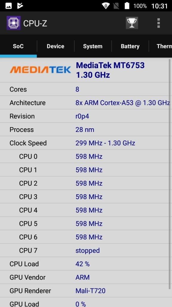 Vernee Thor E CPU-Z Soc