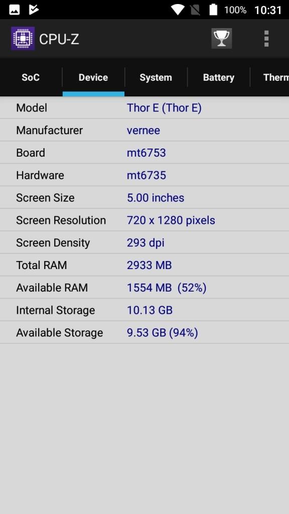 Vernee Thor E CPU-Z Device