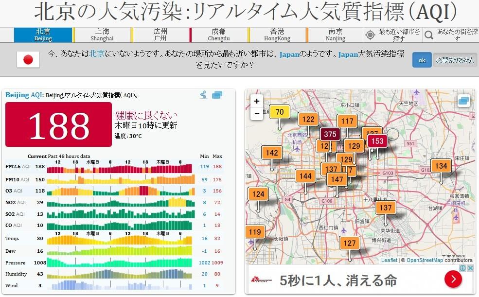 PM2.5 リアルタイム 北京