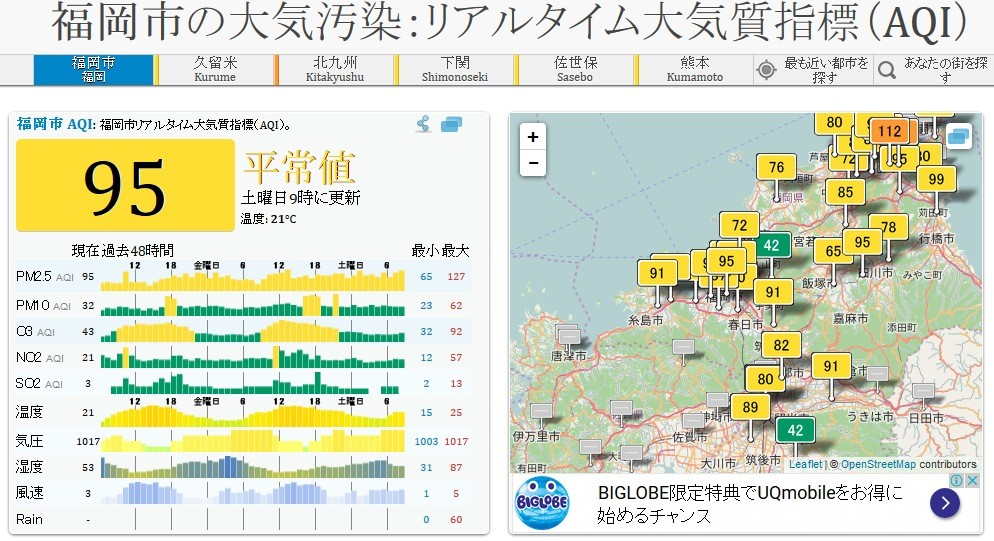 PM2.5 リアルタイム 福岡