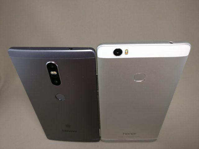 LENOVO Phab 2 Plus Huawei honor note 8と比較 裏 斜め