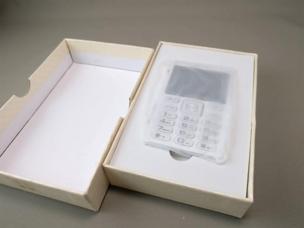 SATREND A10 GSM ミニカードフォン 化粧箱 開封