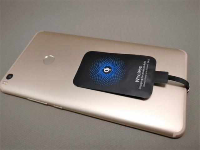 ワイヤレス充電レシーバーシート Mi Max 2に装着