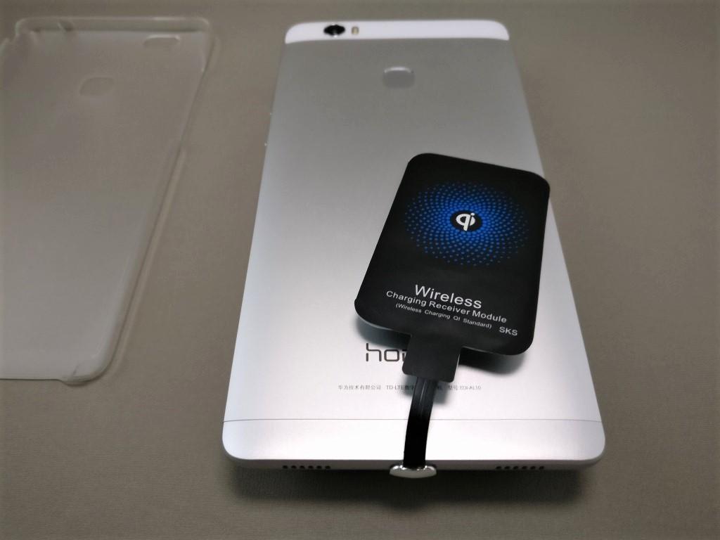 ワイヤレス充電レシーバーシート Huawei honor note 8に装着