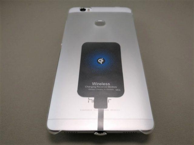 ワイヤレス充電レシーバーシート Huawei honor note 8に装着 保護カバー