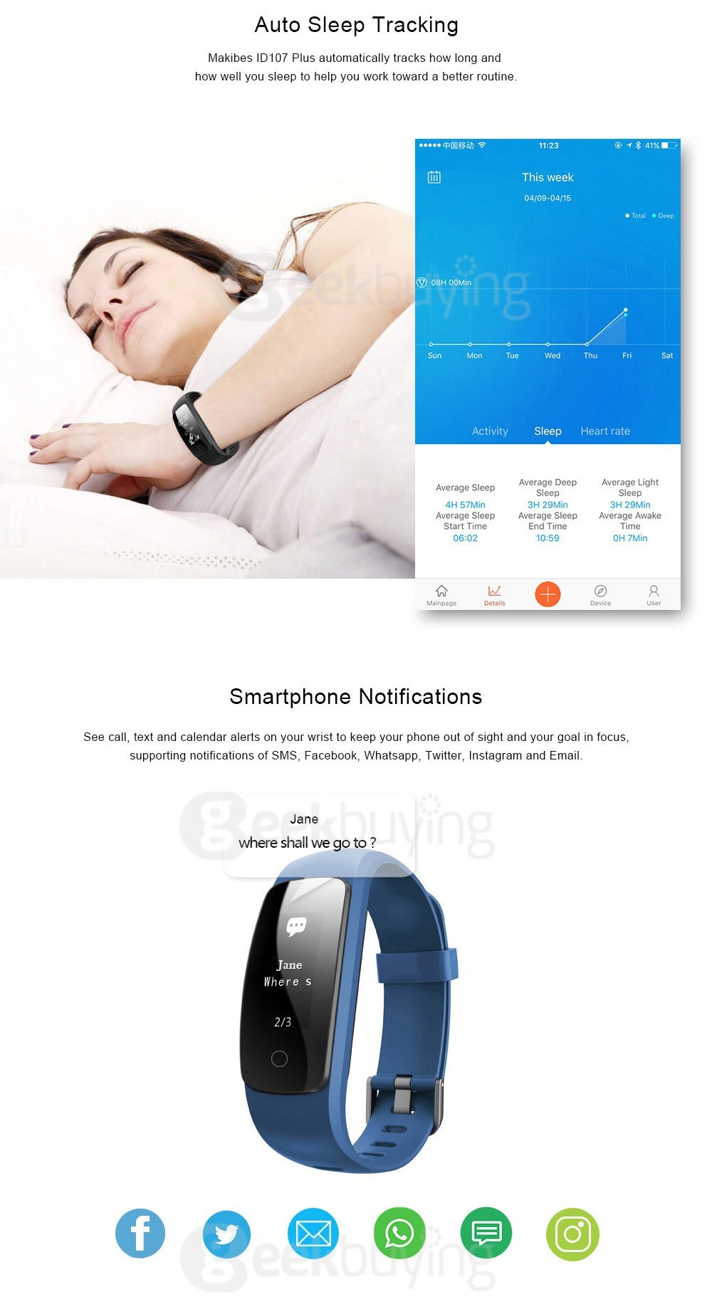 Makibes ID107 Plus スマート ブレスレット 睡眠