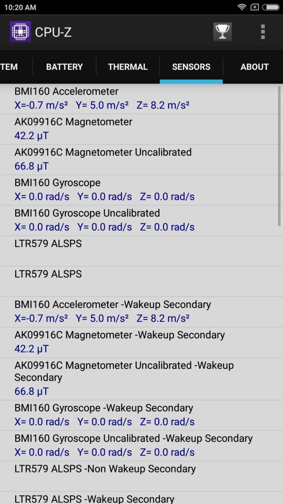 Xiaomi Mi Max 2 Sensors