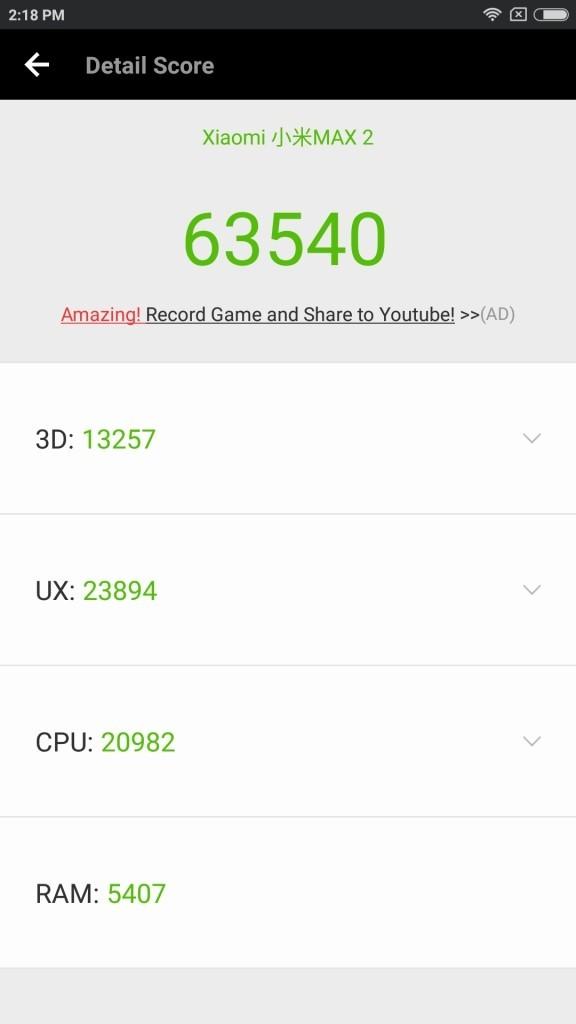 Xiaomi Mi Max 2 Antutu 63540