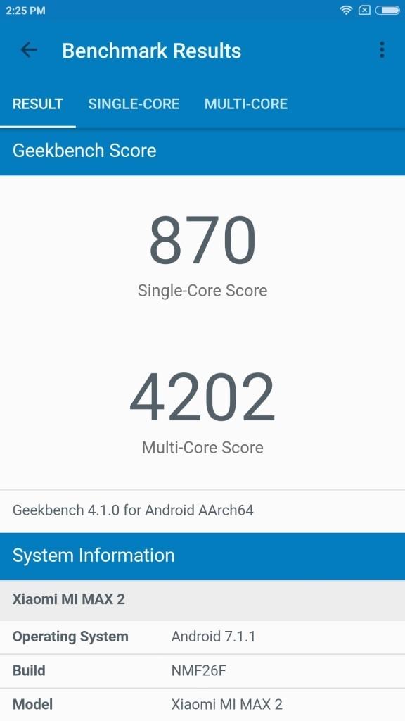 Xiaomi Mi Max 2 GeekBench 870