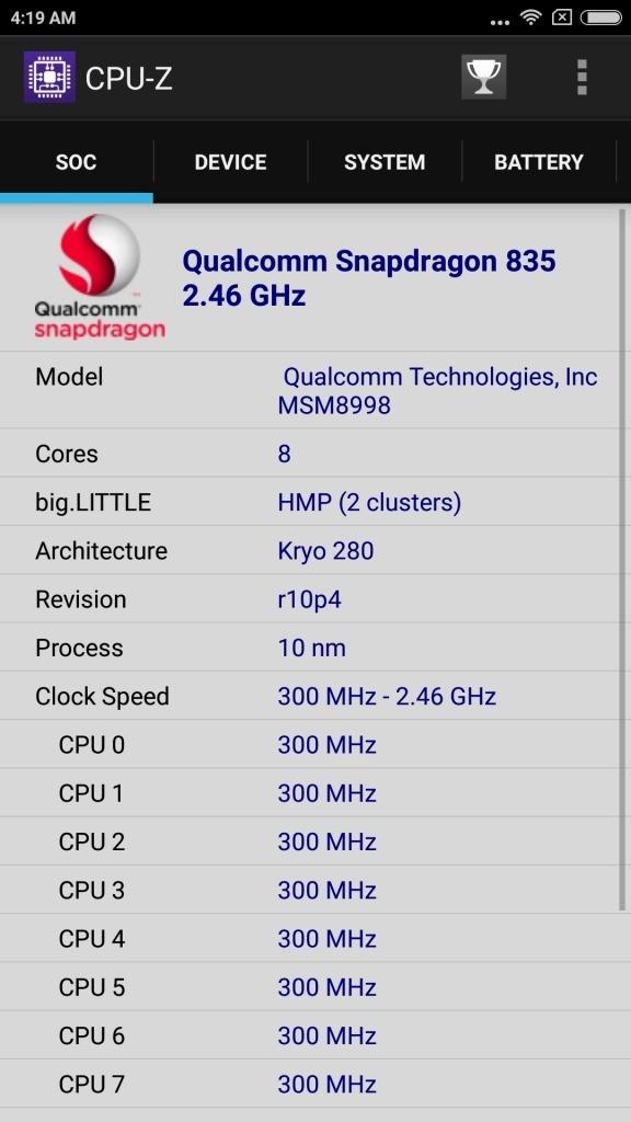 xiaomi Mi6 CPU-Z Soc