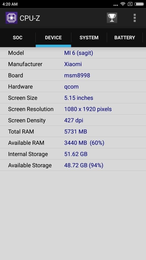 xiaomi Mi6 CPU-Z Device