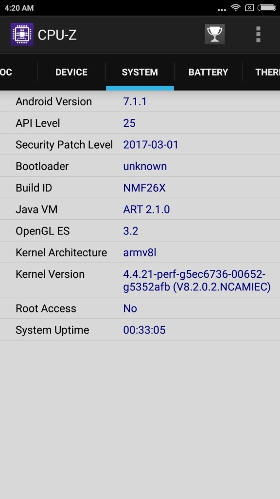 xiaomi Mi6 CPU-Z System