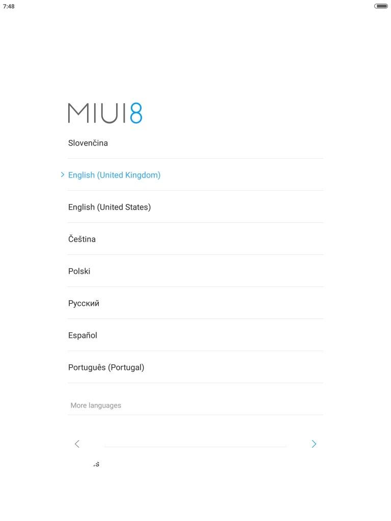Mi Pad3 MIUI起動 初期設定 言語は日本語無い