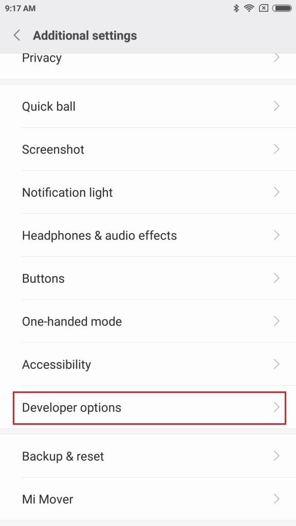 Mi6 Developer options