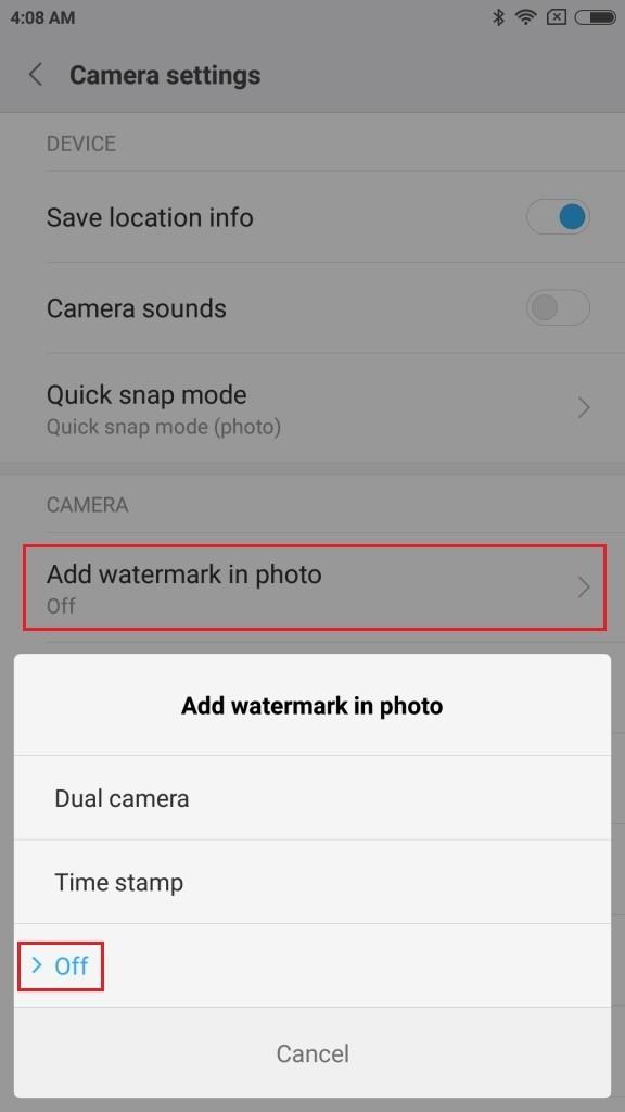 Mi6 Add watermark in pohto タップしてOffにする