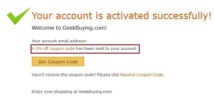 Geekbuying 2%のクーポンゲット
