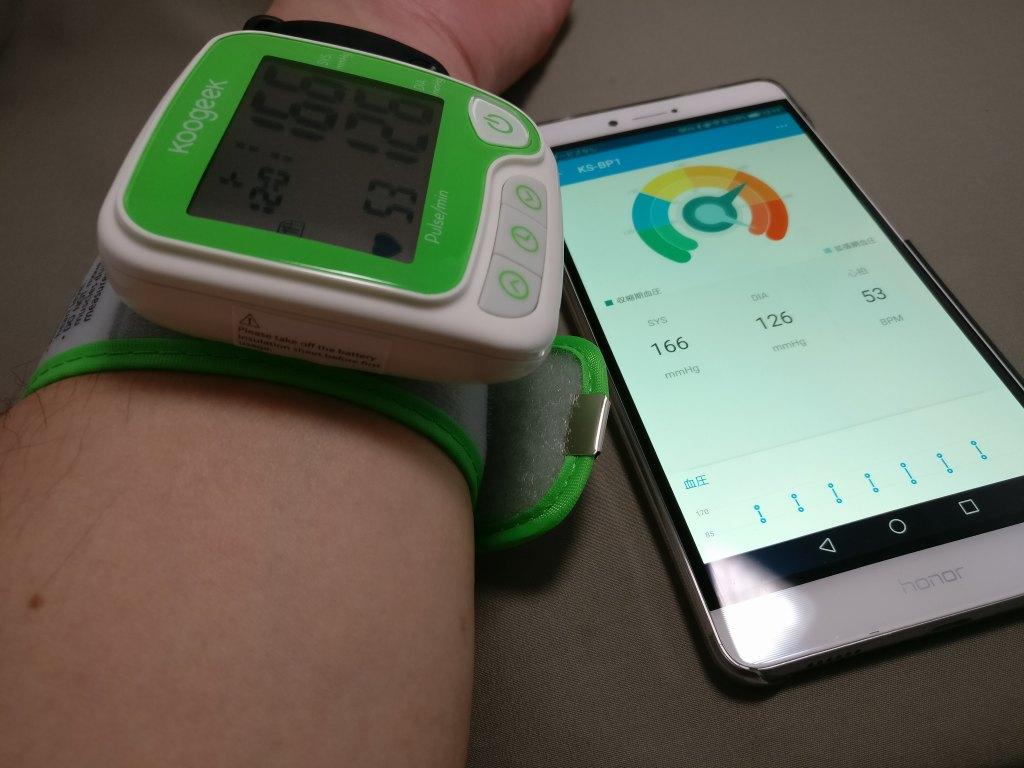 Koogeek スマート血圧計 計測結果 旧型