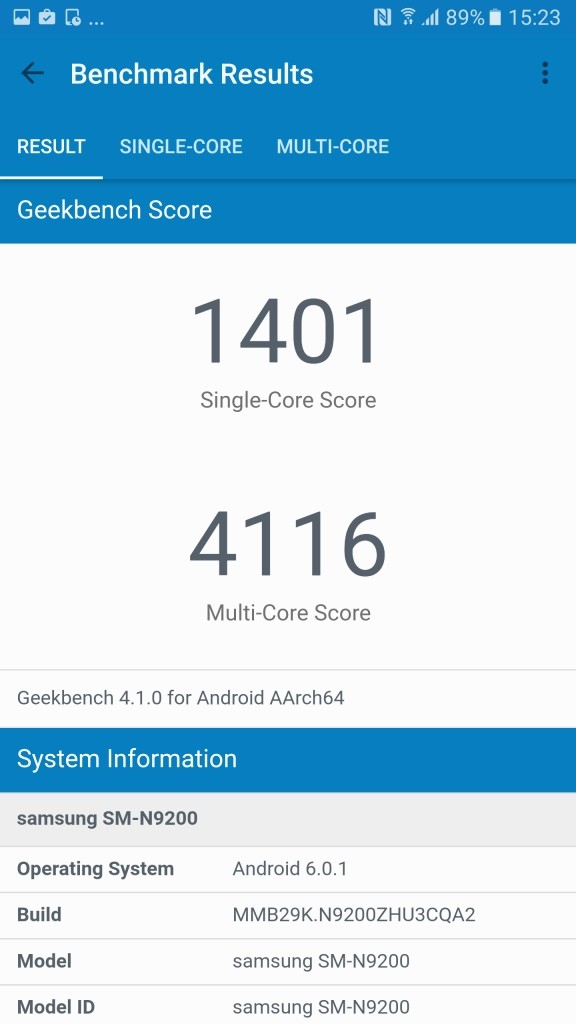Galaxy Note 5 Geekbench1401
