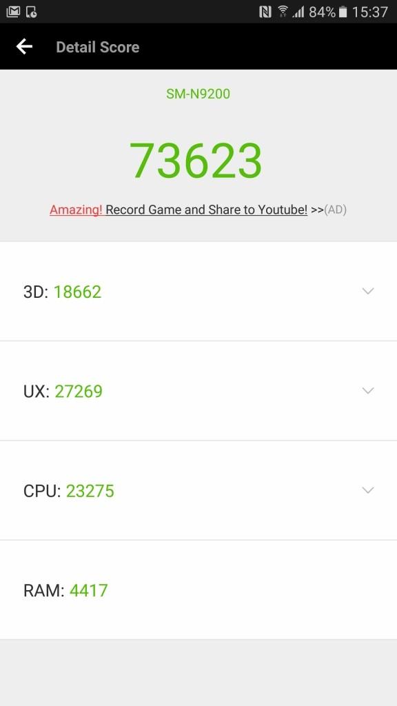 Galaxy Note 5 Antutu 73623