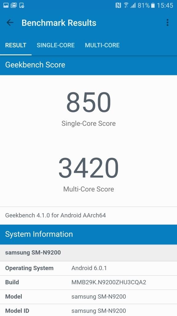 Galaxy Note 5 Geekbench820