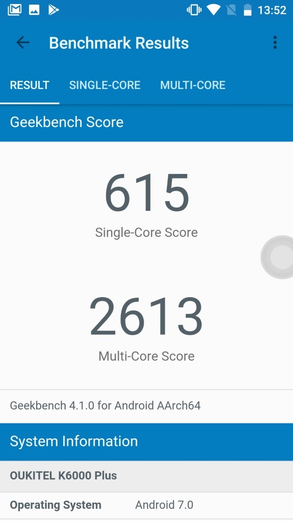 OUKITEL K6000 Plus Geekbench 615