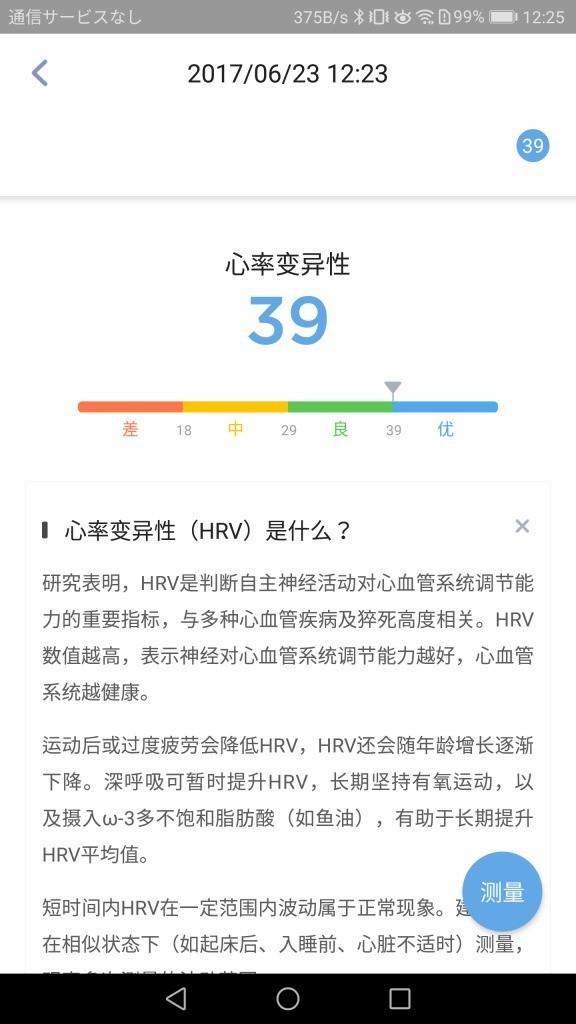 米动健康(AMAZFIT Health) アプリ HRV計測結果