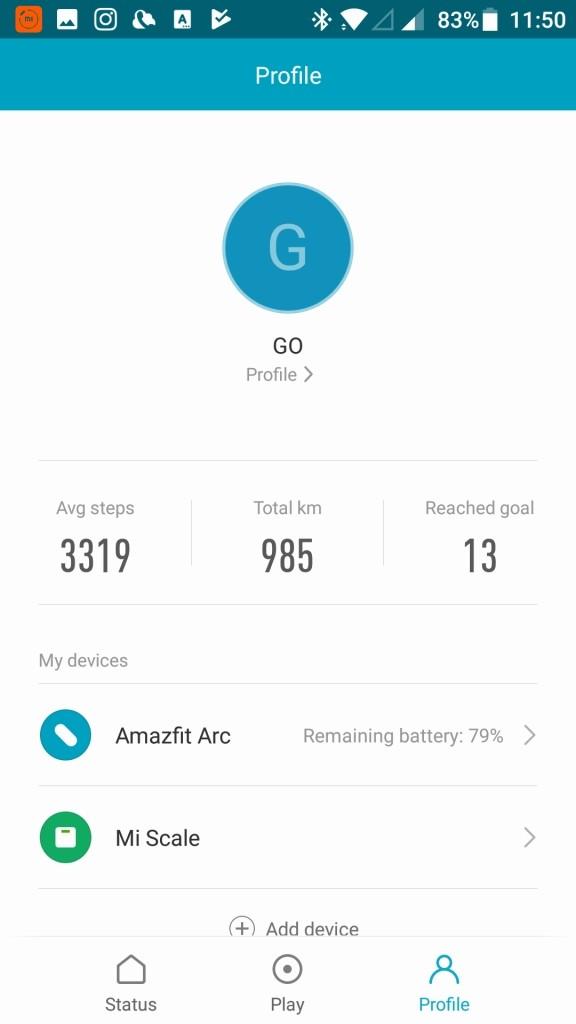 Xiaomi Amazfit A1603 スマートバンド ペアリング成功