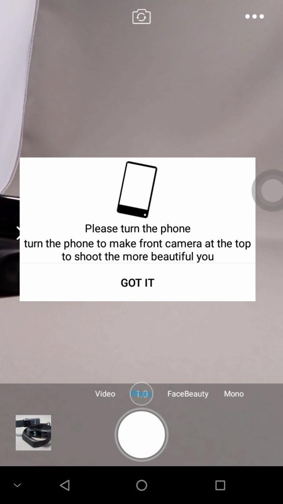 DOOGEE MIX カメラ性能 フロントカメラにするとカメラを上にするように指示される