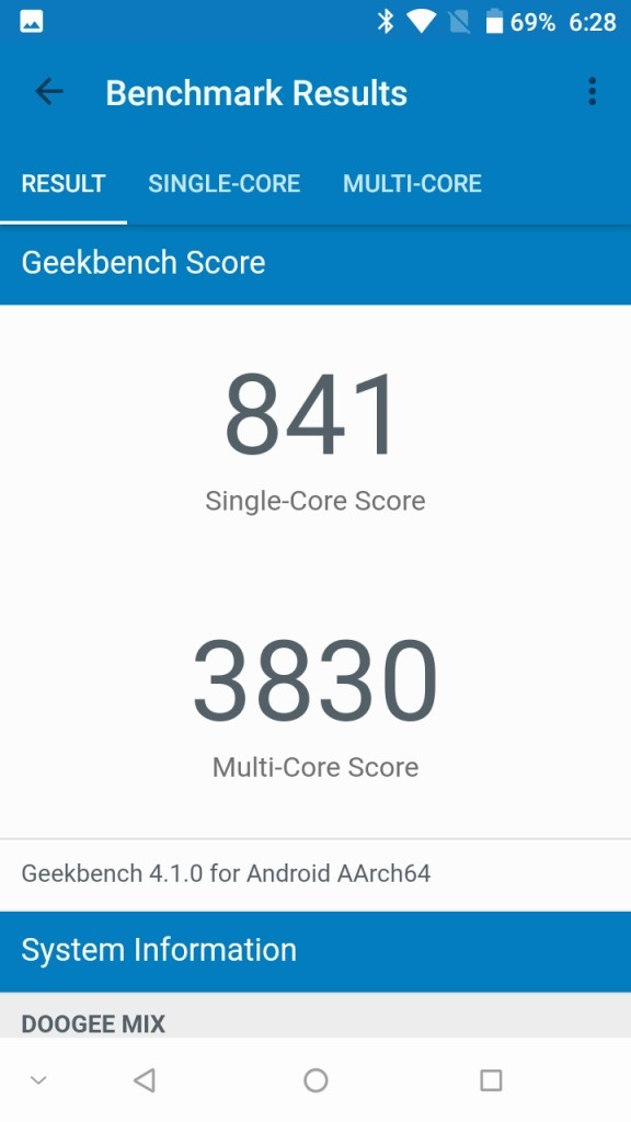 DOOGEE MIX Geekbench841