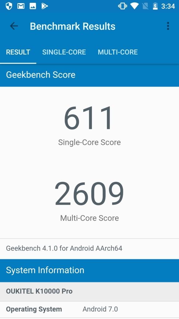 OUKITEL K10000 Pro GeekBench611