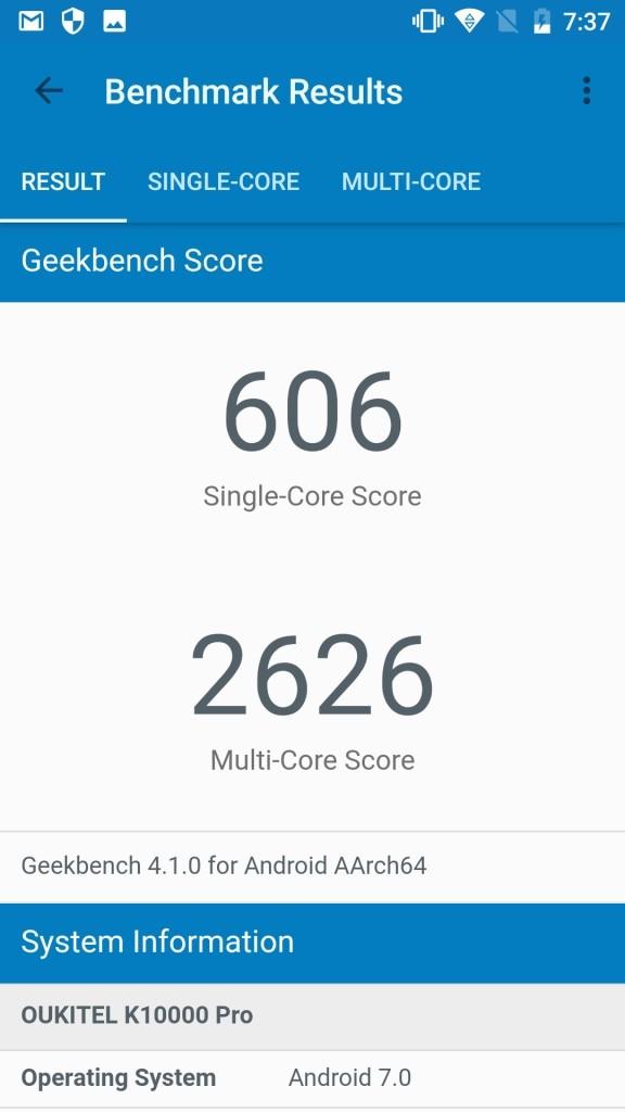 OUKITEL K10000 Pro GeekBench606
