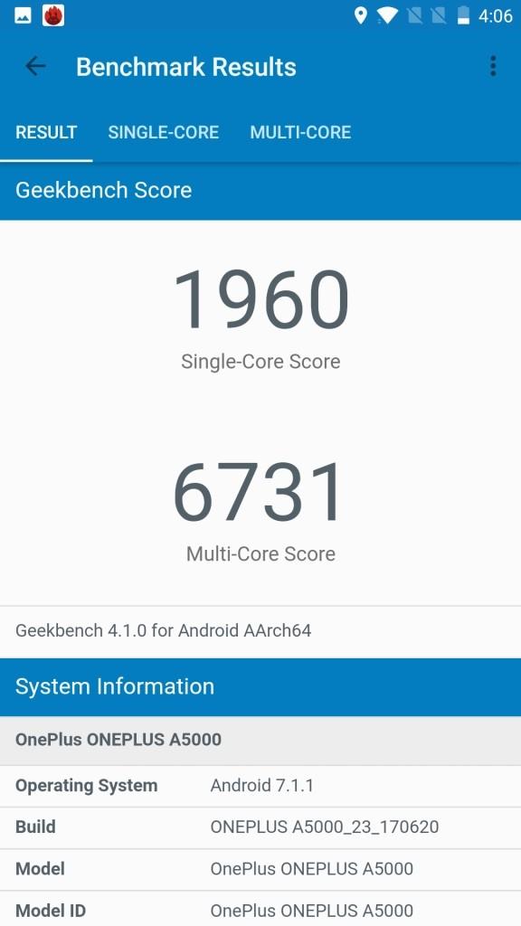 OnePlus5 GeekBench1960