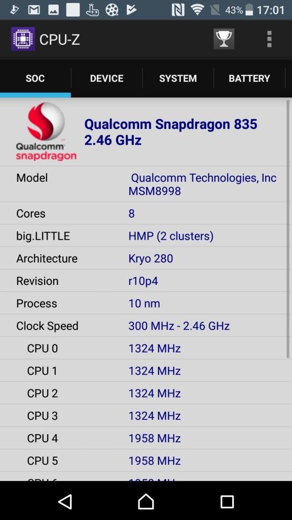 Xperia XZ Premium CPU-Z 1
